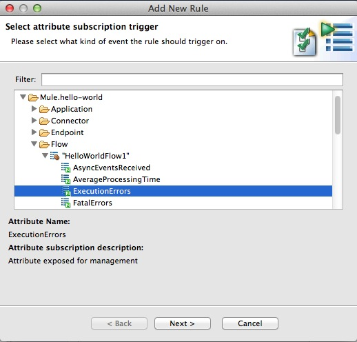 Selecting MBean Attribute for new Trigger Rule