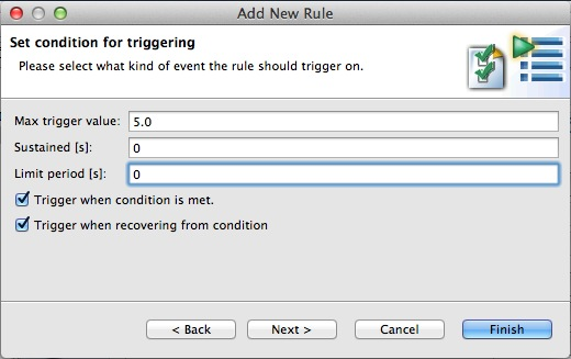 New Trigger Rule trigger conditions.