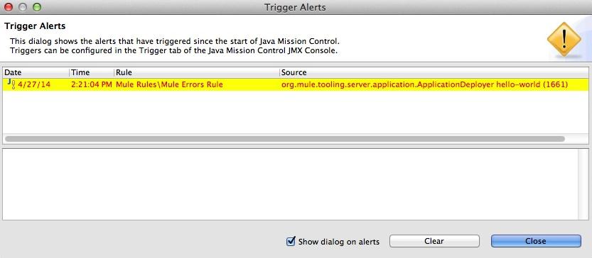 Java Mission Control Trigger Alert