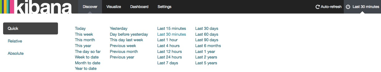 Setting the time period for which data is shown in Kibana.