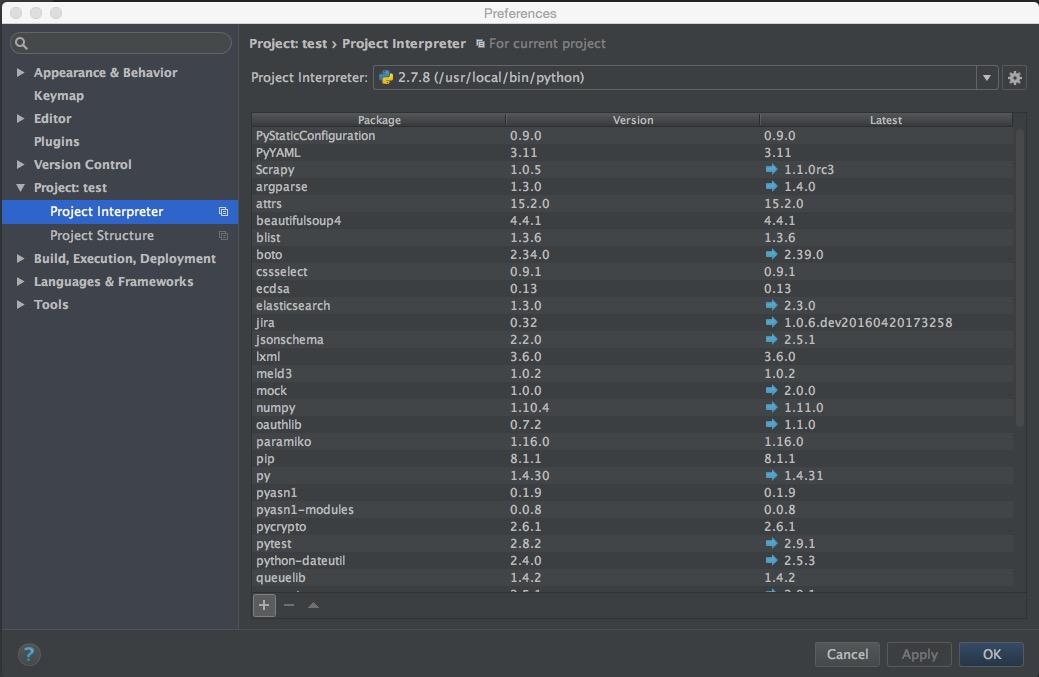 Project preferences in PyCharm where new packages are installed.