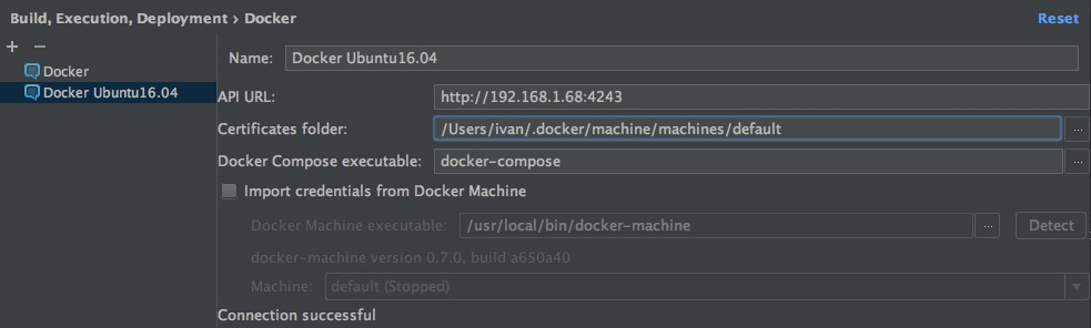 Setting up access to a remote Docker daemon in IntelliJ IDEA.