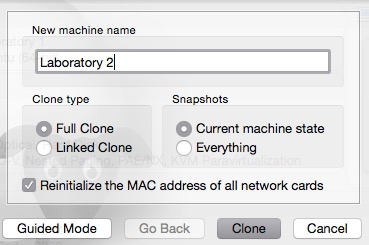 Clone a laboratory virtual machine.