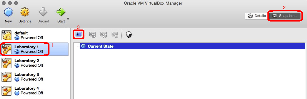 Taking a snapshot of a virtual machine in VirtualBox.