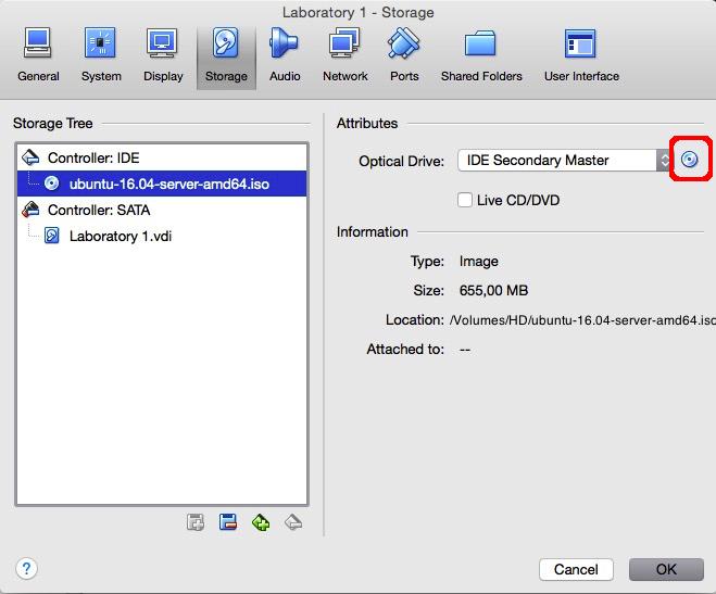 Selecting the Ubuntu Server installation ISO.