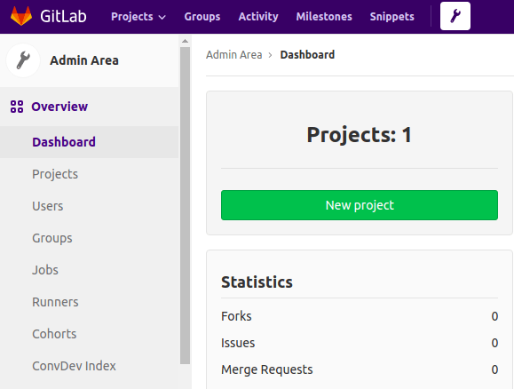 GitLab Admin Area menu.