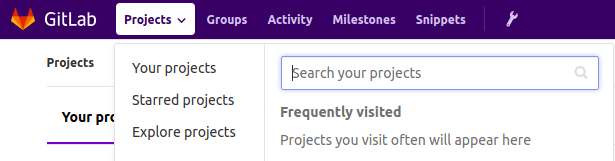 Projects menu in GitLab.