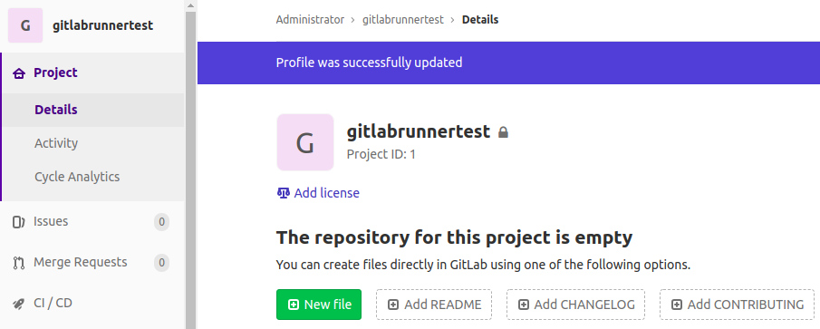 Create a new file in the GitLab Runner test project.