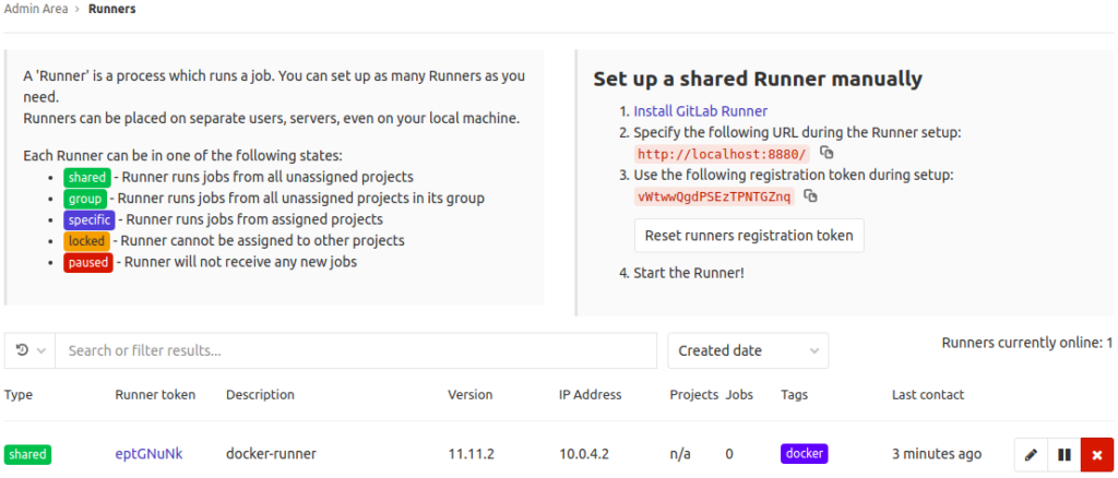 The Runners page in the GitLab Admin Area with the newly registered runner appearing.